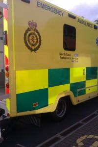 Bright yellow ambulance